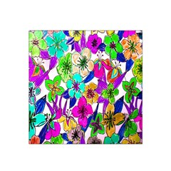 Floral Colorful Background Of Hand Drawn Flowers Satin Bandana Scarf
