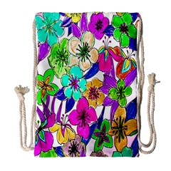 Floral Colorful Background Of Hand Drawn Flowers Drawstring Bag (large)