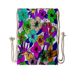 Floral Colorful Background Of Hand Drawn Flowers Drawstring Bag (small)