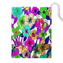Floral Colorful Background Of Hand Drawn Flowers Drawstring Pouches (xxl)