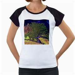 Lena River Delta A Photo Of A Colorful River Delta Taken From A Satellite Women s Cap Sleeve T