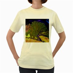 Lena River Delta A Photo Of A Colorful River Delta Taken From A Satellite Women s Yellow T-Shirt