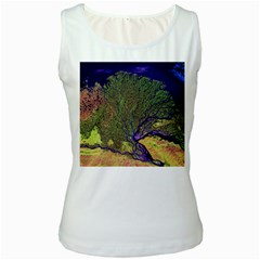 Lena River Delta A Photo Of A Colorful River Delta Taken From A Satellite Women s White Tank Top