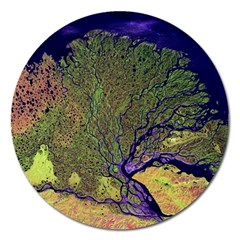 Lena River Delta A Photo Of A Colorful River Delta Taken From A Satellite Magnet 5  (Round)