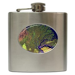 Lena River Delta A Photo Of A Colorful River Delta Taken From A Satellite Hip Flask (6 Oz)