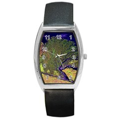 Lena River Delta A Photo Of A Colorful River Delta Taken From A Satellite Barrel Style Metal Watch