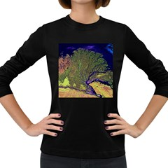Lena River Delta A Photo Of A Colorful River Delta Taken From A Satellite Women s Long Sleeve Dark T Shirts