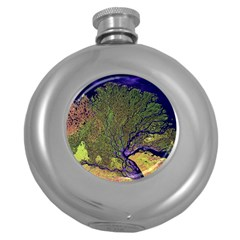 Lena River Delta A Photo Of A Colorful River Delta Taken From A Satellite Round Hip Flask (5 oz)