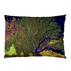 Lena River Delta A Photo Of A Colorful River Delta Taken From A Satellite Pillow Case
