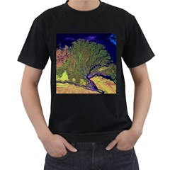 Lena River Delta A Photo Of A Colorful River Delta Taken From A Satellite Men s T Shirt (black)