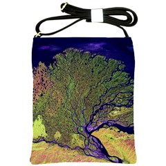 Lena River Delta A Photo Of A Colorful River Delta Taken From A Satellite Shoulder Sling Bags