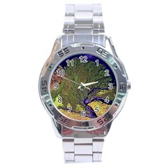 Lena River Delta A Photo Of A Colorful River Delta Taken From A Satellite Stainless Steel Analogue Watch