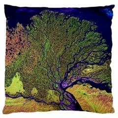 Lena River Delta A Photo Of A Colorful River Delta Taken From A Satellite Large Cushion Case (Two Sides)