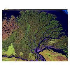 Lena River Delta A Photo Of A Colorful River Delta Taken From A Satellite Cosmetic Bag (XXXL)