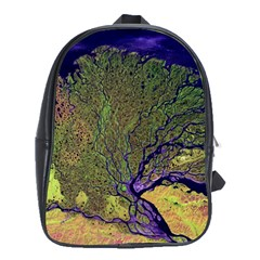 Lena River Delta A Photo Of A Colorful River Delta Taken From A Satellite School Bags (xl)