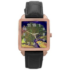 Lena River Delta A Photo Of A Colorful River Delta Taken From A Satellite Rose Gold Leather Watch