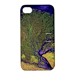 Lena River Delta A Photo Of A Colorful River Delta Taken From A Satellite Apple iPhone 4/4S Hardshell Case with Stand