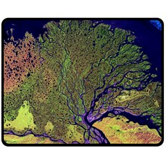 Lena River Delta A Photo Of A Colorful River Delta Taken From A Satellite Double Sided Fleece Blanket (Medium)