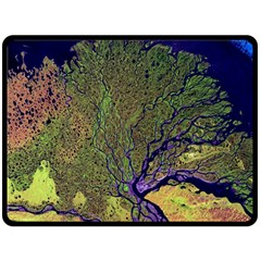 Lena River Delta A Photo Of A Colorful River Delta Taken From A Satellite Double Sided Fleece Blanket (Large)