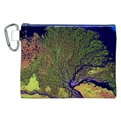 Lena River Delta A Photo Of A Colorful River Delta Taken From A Satellite Canvas Cosmetic Bag (xxl)