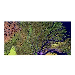 Lena River Delta A Photo Of A Colorful River Delta Taken From A Satellite Satin Wrap