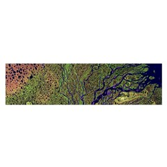 Lena River Delta A Photo Of A Colorful River Delta Taken From A Satellite Satin Scarf (Oblong)