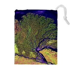 Lena River Delta A Photo Of A Colorful River Delta Taken From A Satellite Drawstring Pouches (extra Large)