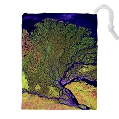 Lena River Delta A Photo Of A Colorful River Delta Taken From A Satellite Drawstring Pouches (xxl)