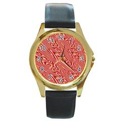 Abstract Neutral Pattern Round Gold Metal Watch