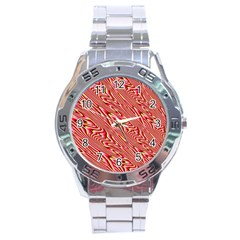 Abstract Neutral Pattern Stainless Steel Analogue Watch