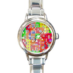 Abstract Polka Dot Pattern Digitally Created Abstract Background Pattern With An Urban Feel Round Italian Charm Watch