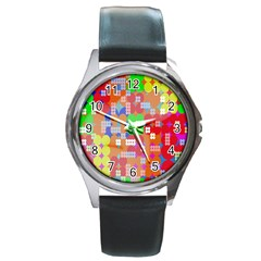 Abstract Polka Dot Pattern Digitally Created Abstract Background Pattern With An Urban Feel Round Metal Watch