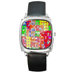 Abstract Polka Dot Pattern Digitally Created Abstract Background Pattern With An Urban Feel Square Metal Watch