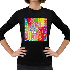 Abstract Polka Dot Pattern Digitally Created Abstract Background Pattern With An Urban Feel Women s Long Sleeve Dark T Shirts