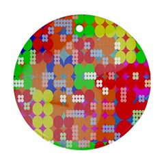 Abstract Polka Dot Pattern Digitally Created Abstract Background Pattern With An Urban Feel Round Ornament (Two Sides)