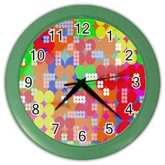 Abstract Polka Dot Pattern Digitally Created Abstract Background Pattern With An Urban Feel Color Wall Clocks