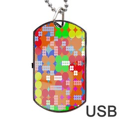 Abstract Polka Dot Pattern Digitally Created Abstract Background Pattern With An Urban Feel Dog Tag USB Flash (One Side)