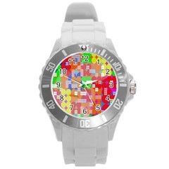 Abstract Polka Dot Pattern Digitally Created Abstract Background Pattern With An Urban Feel Round Plastic Sport Watch (l)