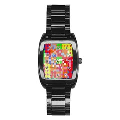 Abstract Polka Dot Pattern Digitally Created Abstract Background Pattern With An Urban Feel Stainless Steel Barrel Watch