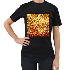 Yellow Abstract Background Women s T-Shirt (Black) (Two Sided)