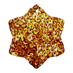 Yellow Abstract Background Snowflake Ornament (two Sides)