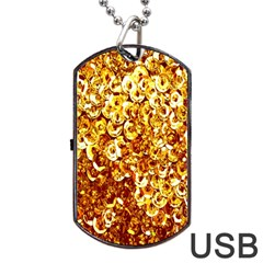 Yellow Abstract Background Dog Tag USB Flash (Two Sides)