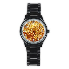 Yellow Abstract Background Stainless Steel Round Watch