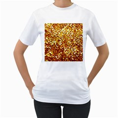 Yellow Abstract Background Women s T Shirt (white)