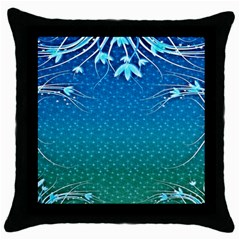 Floral 2d Illustration Background Throw Pillow Case (Black)