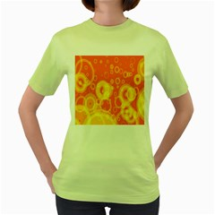 Retro Orange Circle Background Abstract Women s Green T Shirt