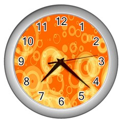 Retro Orange Circle Background Abstract Wall Clocks (silver)