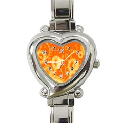 Retro Orange Circle Background Abstract Heart Italian Charm Watch