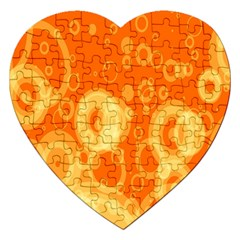 Retro Orange Circle Background Abstract Jigsaw Puzzle (Heart)