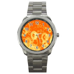 Retro Orange Circle Background Abstract Sport Metal Watch
